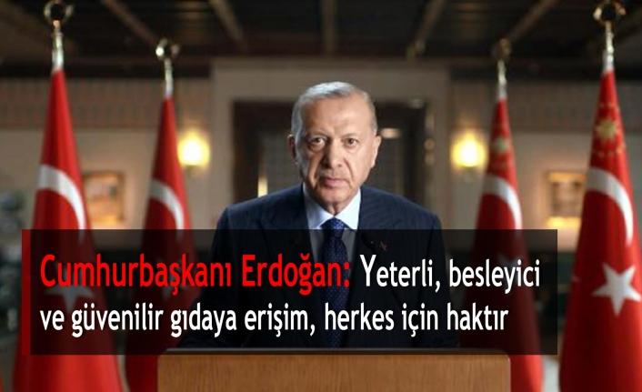 Cumhurbaşkanı Erdoğan: Yeterli, besleyici ve güvenilir gıdaya erişim, herkes için haktır