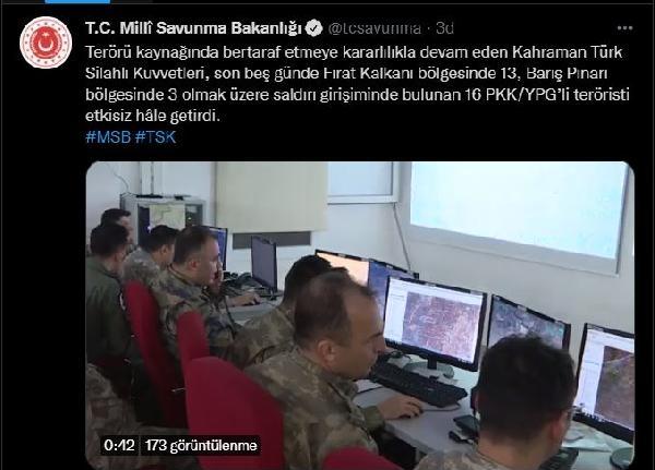 MSB: 16 PKK/YPG'li terörist etkisiz hale getirildi
