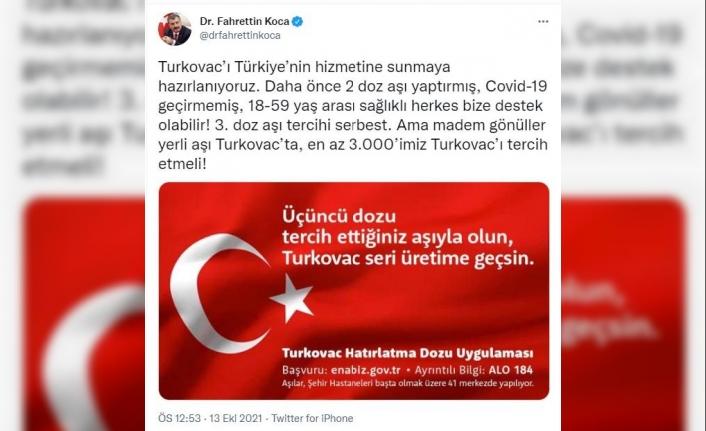 Turkovac için 3'üncü doz klinik çalışma; Bakan Koca'dan 'gönüllü' çağrısı