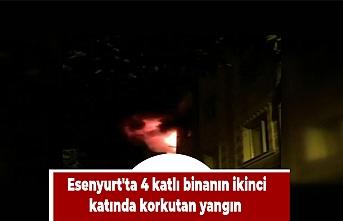 Esenyurt'ta 4 katlı binanın ikinci katında korkutan yangın