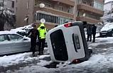 Bursa'da buz tutan yollardan sürücü manzaraları