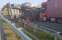 Bulgaristan sınırında korkunç kaza! 22 TIR birbirine...