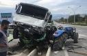 Alkollü sürücünün çarptığı kamyonet, traktörün...
