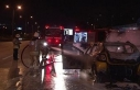 Kadıköy'de ticari taksi alev alev yandı