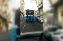 (Özel) Patenli 3 gencin otobüs arkasında tehlikeli...
