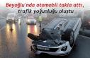 Beyoğlu'nda otomobil takla attı, trafik yoğunluğu...