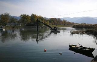 Bursa İznik Gölü'nde vinç battı