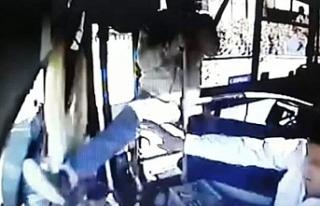 Otobüs şoförünü tekmeledi