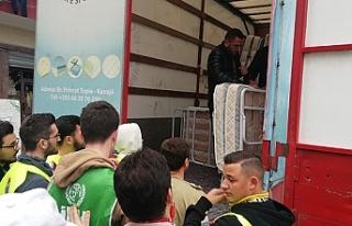 Türkiye'den depremzedelere yatak yardımı