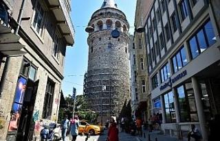 Galata Kulesi'ndeki restorasyon çalışması havadan...