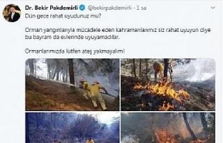 Bakan Pakdemirli: Ormanlarımızda lütfen ateş yakmayalım