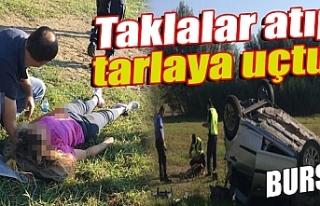 Bursa'da tarlaya uçan otomobilin sürücüsü...