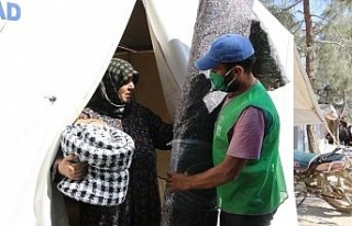 Afrin'de 250 aileye halı ve battaniye yardımı