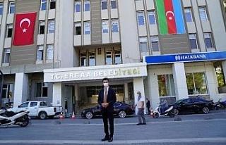 Erbaa, Azerbaycan bayrakları ile süslendi