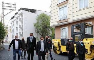 Vali, Belediye Başkan vekili Öksüz, asfalt çalışmalarını...