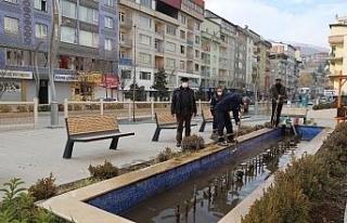 Belediye süs havuzunda kış bakımı