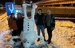 Biri kardan heykel yaptı, diğeri kardan adamı ters...