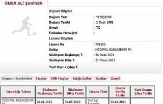 Medipol Başakşehir, yeni transferi Ömer Ali Şahiner'in...