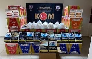 Nevşehir'de 670 bin adet makaron, 30 kilo tütün...