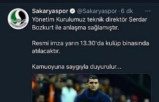 Sakaryaspor'un takımın başına Serdar Bozkurt'u...