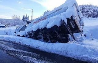 Yem kamyonu ambulansa yol verirken yan yattı