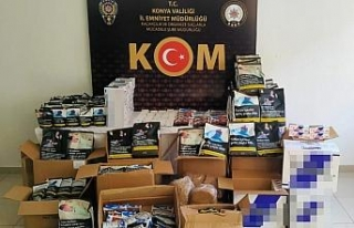 Konya'da kaçak tütün ve makaron operasyonu