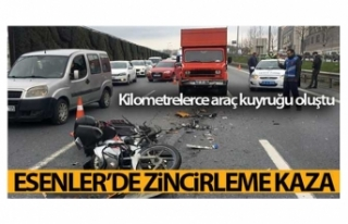 Esenlerde zincirleme kaza: Kilometrelerce araç kuyruğu...