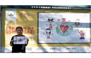 Osmangazi'de billboardlar çocukların resimleriyle...