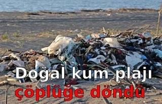 Doğal kum plajı çöplüğe döndü