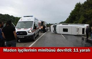 Bartın'da maden işçilerinin minibüsü devrildi:...