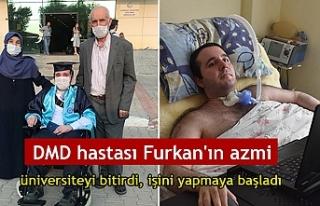 DMD hastası Furkan'ın azmi; üniversiteyi bitirdi,...