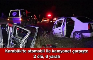 Karabük'te otomobil ile kamyonet çarpıştı:...