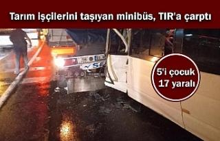 Tarım işçilerini taşıyan minibüs, TIR'a...