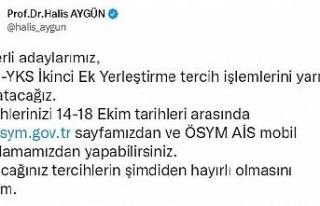 ÖSYM Başkanı Aygün: İkinci ek yerleştirme yarın...
