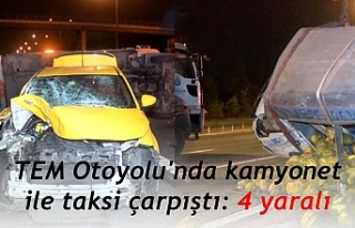 TEM Otoyolu'nda kamyonet ile taksi çarpıştı:...