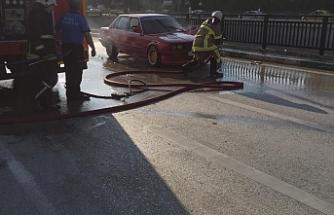 Otomobil alev alev yandı!