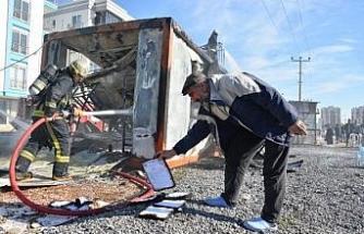 Şantiye yangınında, işçi konteynerindeki 100 bin liranın yandığı iddiası