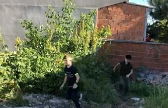Polisi gören çocuklar, yeşilliklere saklandı