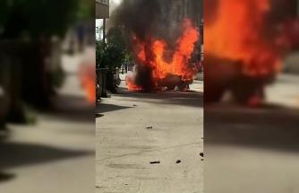 (Özel) Sürücü kontağı çevirdiği an otomobil alev alev yandı