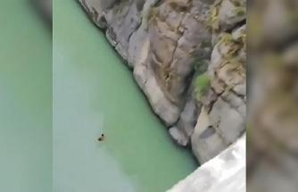 24 metre yükseklikten suya atlayan genç, yürekleri ağza getirdi