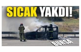 Bursa'da sıcak hava otomobili küle döndürdü