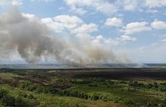 Sazlık yangınında 200 hektarlık alan zarar gördü