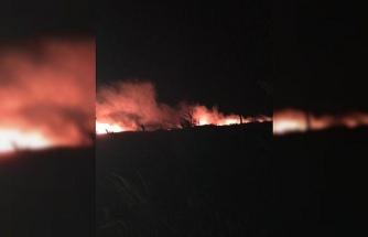 Anız yangını rüzgarla büyüdü, karayolundaki sürücüler zor anlar yaşadı