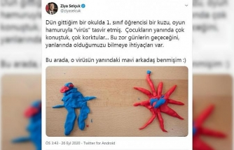 Bakan Selçuk, öğrencinin oyun hamurundan yaptığı virüsü paylaşarak uyardı