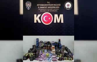 Afyonkarahisar polisinden işyerlerine kaçakçılık operasyonu