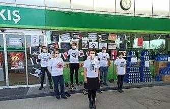 Akaryakıt istasyonunda kadına şiddete tepki