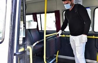 İncirliova'da dolmuşlar dezenfekte edildi