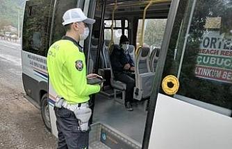 Marmaris'te toplu taşıma araçlarında Korona virüs denetimi yapıldı
