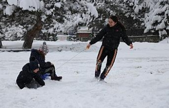 Abant Tabiat Parkı kar yağışıyla tatilci akınına uğradı