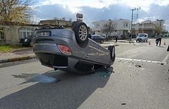 Otomobilin takla atma anı kameralara yansıdı